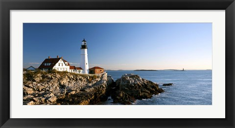 Framed Lighthouse on the coast, Portland Head Lighthouse, Ram Island Ledge Light, Portland, Cumberland County, Maine, USA Print