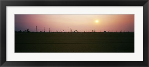 Framed Oil field at sunset, California State Route 46, California, USA Print