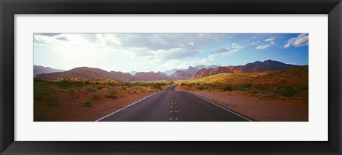 Framed Road passing through mountains, Calico Basin, Red Rock Canyon National Conservation Area, Las Vegas, Nevada, USA Print