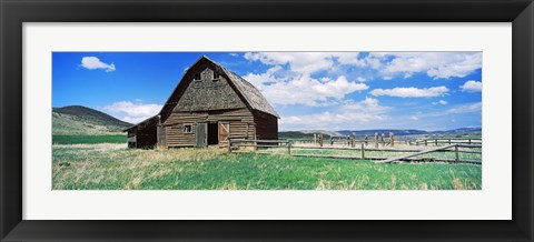 Framed Old barn in a field, Colorado, USA Print