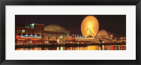 Framed Night Navy Pier Chicago IL USA Print