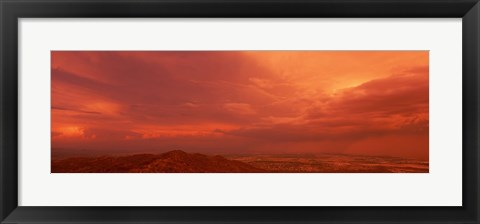 Framed Storm clouds over mountains at sunset, South Mountain Park, Phoenix, Arizona, USA Print