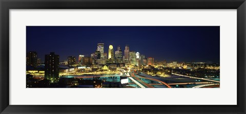 Framed Buildings lit up at night in a city, Minneapolis, Hennepin County, Minnesota, USA Print