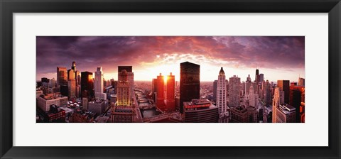 Framed Sunset River View Chicago IL Print