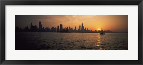Framed Silhouette of buildings at the waterfront, Navy Pier, Chicago, Illinois, USA Print