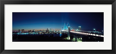 Framed Bridge across a river, Delaware Memorial Bridge, Delaware River, Philadelphia, Philadelphia County, Pennsylvania, USA Print