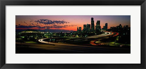 Framed Sunset Puget Sound & Seattle skyline WA USA Print