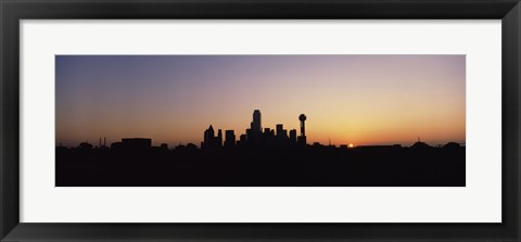 Framed Sunrise Skyline Dallas TX USA Print