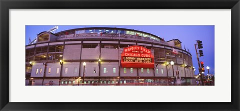 Framed Wrigley Field at night, USA, Illinois, Chicago Print