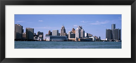 Framed Detroit Waterfront, Michigan Print