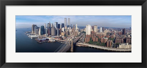 Framed Aerial view of Brooklyn Bridge and Manhattan skyline, New York City, New York State, USA Print