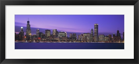 Framed Chicago Skyline with Purple Sky Print