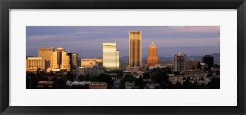 Framed Cityscape at sunset, Portland, Multnomah County, Oregon, USA Print