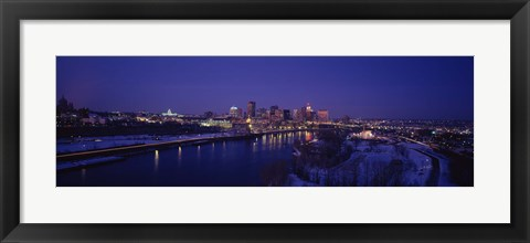 Framed Reflection of buildings in a river at night, Mississippi River, Minneapolis and St Paul, Minnesota, USA Print