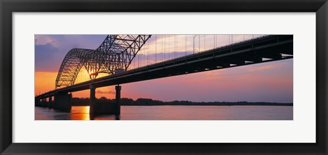 Framed Sunset, Hernandez Desoto Bridge And Mississippi River, Memphis, Tennessee, USA Print
