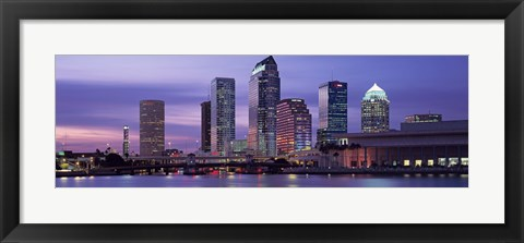 Framed USA, Florida, Tampa, View of an urban skyline at night Print