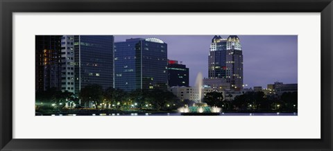 Framed Fountain in Lake Eola lit up at night, Summerlin Park, Orlando, Florida Print