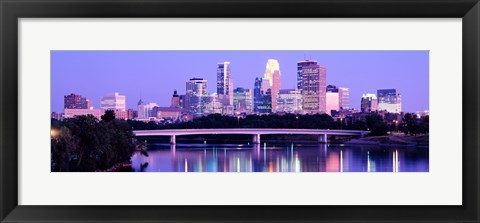 Framed Minneapolis in Purple Print