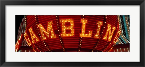 Framed Close-up of a neon sign of gambling, Las Vegas Print