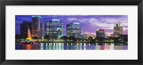 Framed Panoramic View Of An Urban Skyline At Night, Orlando, Florida, USA Print