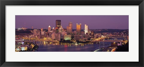 Framed Night view of Pittsburgh Print