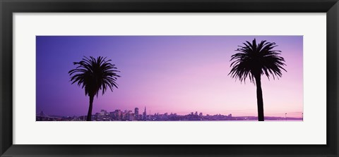 Framed San Francisco skyline between 2 palm trees, California Print