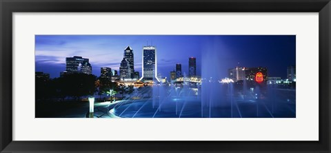 Framed Fountain, Cityscape, Night, Jacksonville, Florida, USA Print