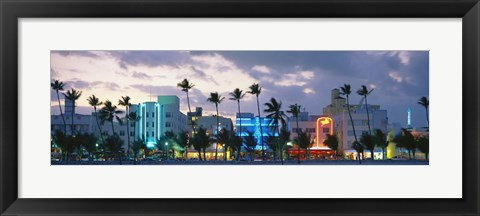 Framed Buildings Lit Up At Dusk, Ocean Drive, Miami Beach, Florida, USA Print