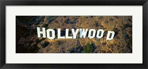 Framed USA, California, Los Angeles, Aerial view of Hollywood Sign at Hollywood Hills Print
