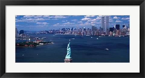 Framed Statue of Liberty with New York City Skyline Print