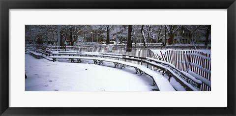 Framed Snowcapped benches in a park, Washington Square Park, New York City Print