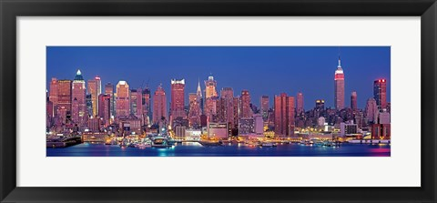 Framed New York City West Side Skyscrapers during dusk Print