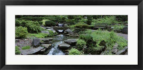 Framed River Flowing Through A Forest, Inniswood Metro Gardens, Columbus, Ohio, USA Print