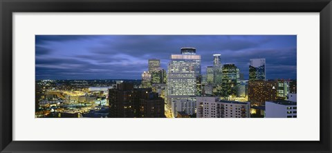 Framed Buildings Lit Up At Dusk, Minneapolis, Minnesota Print