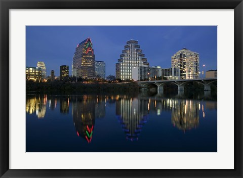 Framed Night view of Town Lake, Austin, Texas Print