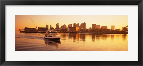 Framed Ferry moving in the sea, Boston Harbor, Boston, Massachusetts, USA Print