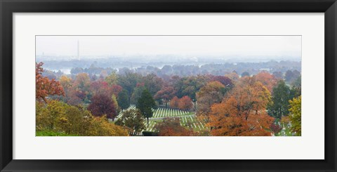 Framed High angle view of a cemetery, Arlington National Cemetery, Washington DC, USA Print
