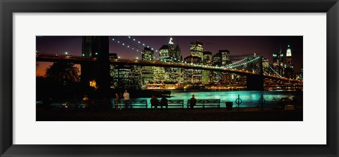 Framed Suspension bridge lit up at dusk, Brooklyn Bridge, East River, Manhattan, New York City, New York State, USA Print