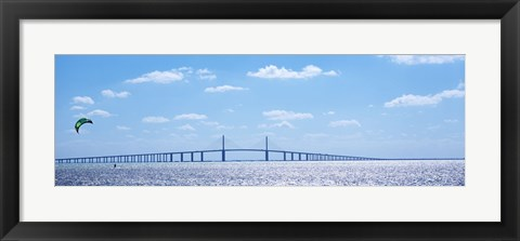Framed Sunshine Skyway Bridge with Parachuter, Tampa Bay, Florida Print