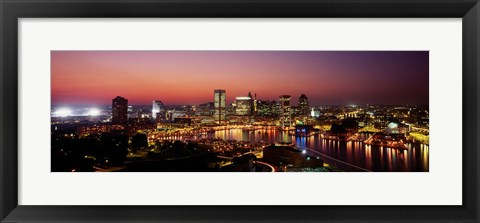 Framed Baltimore with Pink Sky at Dusk Print