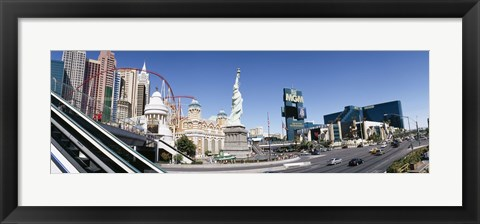 Framed Buildings in a city, New York New York Hotel, MGM Casino, The Strip, Las Vegas, Clark County, Nevada, USA Print