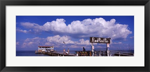 Framed Information board of a pier, Rod and Reel Pier, Tampa Bay, Gulf of Mexico, Anna Maria Island, Florida, USA Print