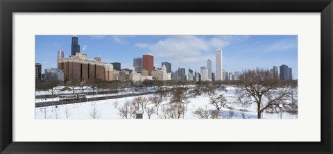 Framed Skyscrapers in a city, Grant Park, South Michigan Avenue, Chicago, Illinois, USA Print