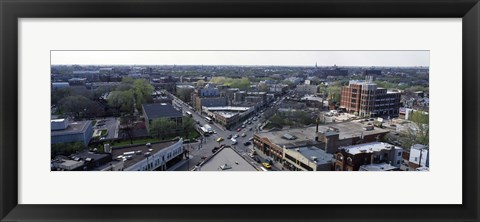 Framed Aerial view of crossroad of six corners, Fullerton Avenue, Lincoln Avenue, Halsted Avenue, Chicago, Illinois, USA Print