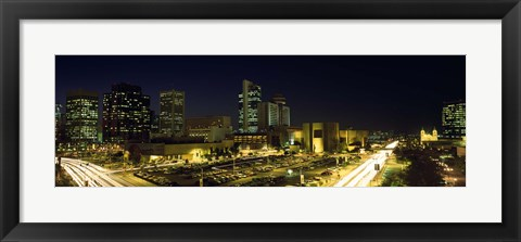 Framed Buildings in a city lit up at night, Phoenix, Arizona Print