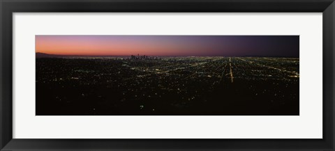 Framed High angle view of a city at night from Griffith Park Observatory, City Of Los Angeles, Los Angeles County, California, USA Print