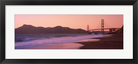 Framed Beach and a suspension bridge at sunset, Baker Beach, Golden Gate Bridge, San Francisco, San Francisco County, California, USA Print