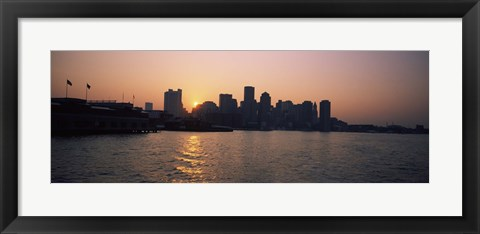Framed Buildings at the waterfront, Boston Harbor, Boston, Suffolk County, Massachusetts, USA Print