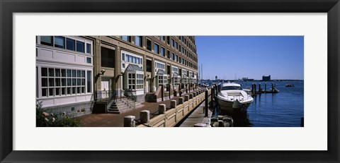 Framed Boats at a harbor, Rowe's Wharf, Boston Harbor, Boston, Suffolk County, Massachusetts, USA Print