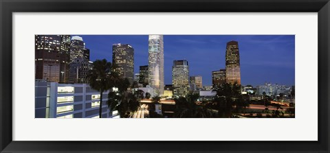 Framed Skyscrapers at night in the City Of Los Angeles, Los Angeles County, California, USA Print